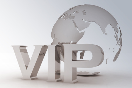 VIP abbreviation with a globe  3D text on a white background