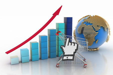 Sales growth chart. Presenting a getting better economy and increase of business income from the sale of commodities and services.