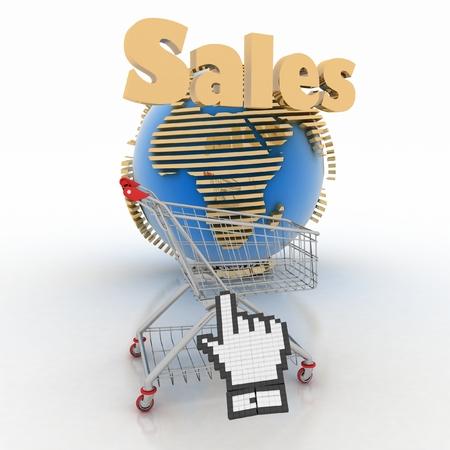 3d shopping online in Internet 版權商用圖片