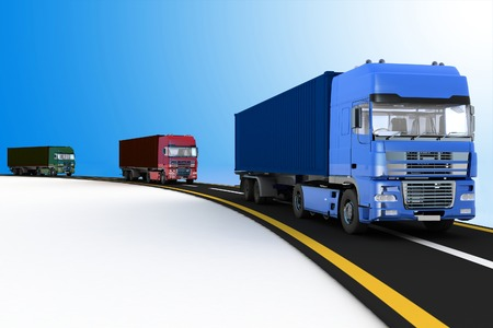 move controller: Trucks on freeway. 3d render illustration. Concept of logistics, delivery and transporting by freight motor transport.