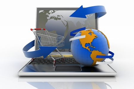 Laptop with arrow and Shopping cart with a globe. The concept of buying gifts and commodities on the Internet. 3d illustration on white background illustration