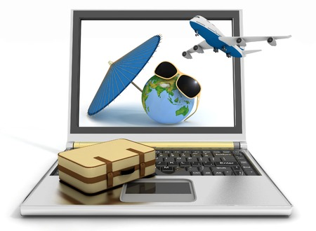 Plane with suitcase, globe and umbrella on laptop screen. Travel and vacation concept. Trendy signs - summer and journey photo