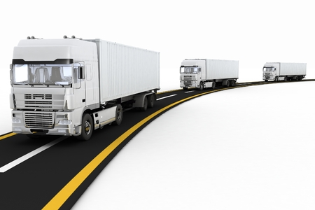transporting: White Trucks on freeway. 3d render illustration. Concept of logistics, delivery and transporting by freight motor transport.  Stock Photo