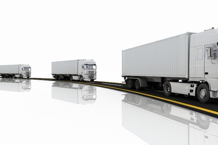 quickly: White Trucks on freeway. 3d render illustration. Concept of logistics, delivery and transporting by freight motor transport.  Stock Photo