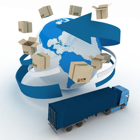 3d cardboard boxes around globe and truck on white background. Worldwide shipping concept. 免版税图像