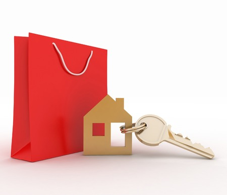 house warming: 3d model house symbol set with key and paper shopping bag