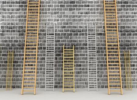ascends: 3d illustration. Ladders against brick old wall