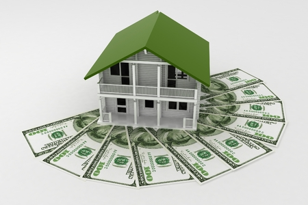 3d house on Pile of money. Conception of growth of mortgage credit.  3d illustration on white background. illustration