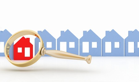 row houses: Magnifying glass selects or inspects a home in a row of houses. Concept of search of house for residence, real estate investment, inspection.