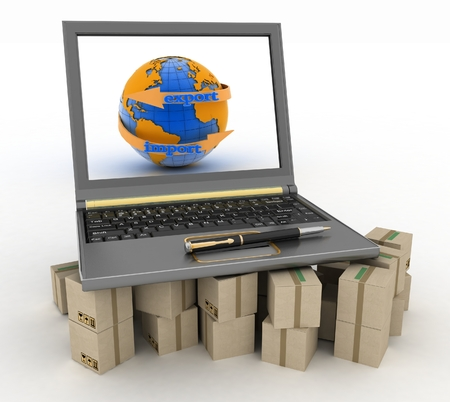 Laptop on cardboard boxes. Concept of online goods orders worldwide. 3d illustration on white background illustration