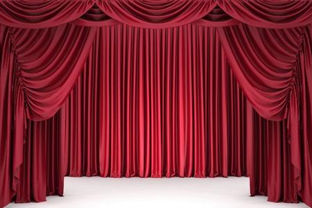 sipario chiuso: Teatro tenda rossa aperto, illuminato da un riflettore Archivio Fotografico