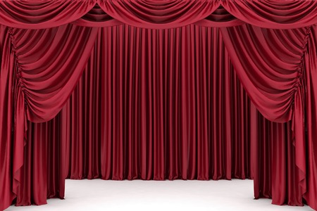 red and gold: Open red theater curtain, background Stock Photo