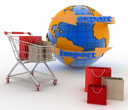 sachet: Shopping cart with a globe. Direction concept. 3d illustration on white background