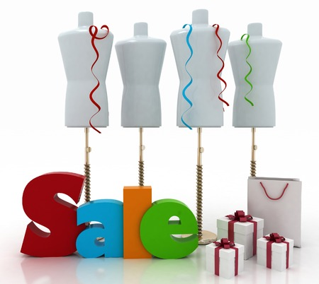 Sale for a clothing. 3D illustrations on a white background illustration