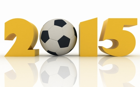 soccerball: 2015 year and soccer-ball on a white background Stock Photo
