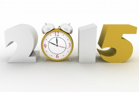 midnight hour: 2015 year. Isolated 3D image Stock Photo