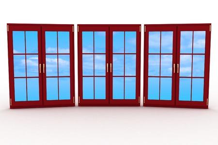3d closed plastic windows on white background photo