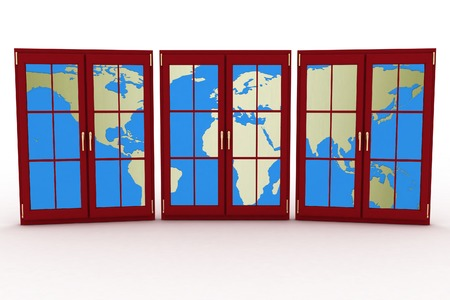 3d closed plastic windows wiht map of world on white background photo