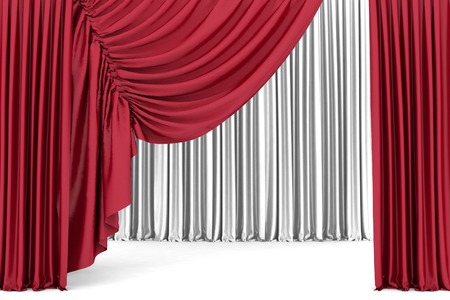 red theater curtain: Red theater curtain, background Stock Photo