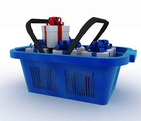 personal shopper: Blue plastic shopping basket with boxes of gifts. 3d render illustration on white background