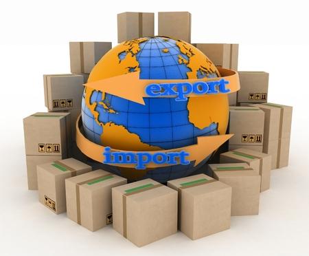 インポートおよびエクスポートのビジネスのための地球の周りの矢印。世界中の商品を購入の概念。白い背景の 3 d 図