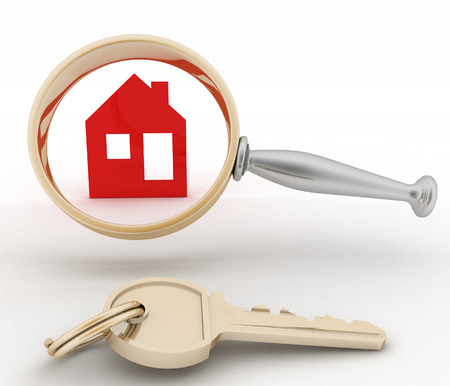 inspection: Magnifying glass inspects a home. Concept of search of house for residence, real estate investment, inspection. Stock Photo