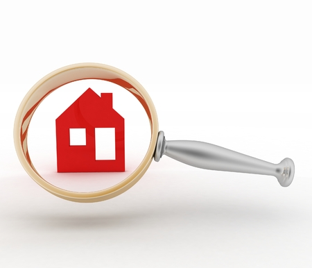Magnifying glass inspects a home. Concept of search of house for residence, real estate investment, inspection. photo