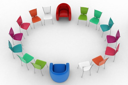 Two arm-chairs of chief and group of multicolored office chairs. 3d render illustration on white background. illustration