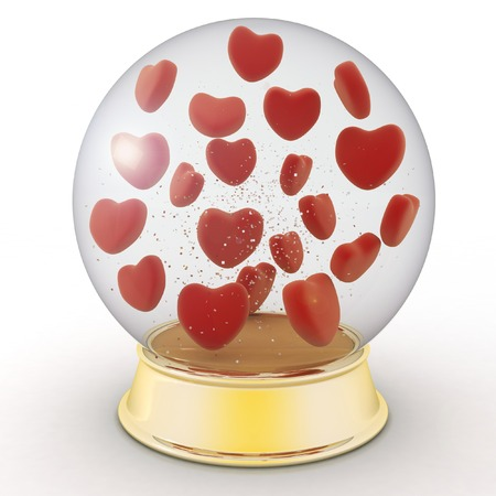 Snow globe with red hearts on white background photo