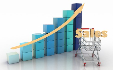 Sales growth chart. Presenting a getting better economy and increase of business income from the sale of commodities and services. photo