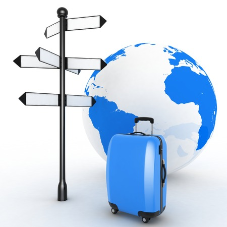 Travel concept. Signpost and suitcases on a globe background. 3d render illustration illustration