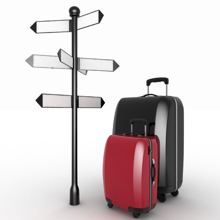 Travel concept. Signpost and suitcases on a white background. 3d render illustration illustration
