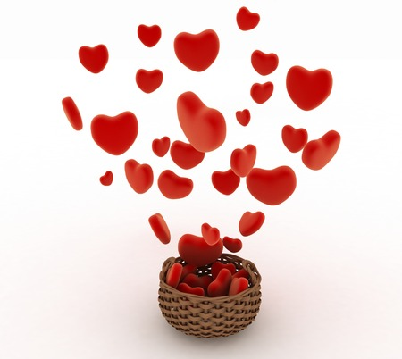 fillings: Heart falling into a wicker basket. The concept of a gift with love. 3d render illustration on a white background