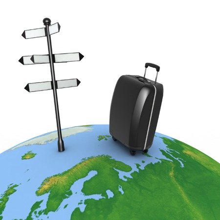 forked road: Travel concept. Signpost and suitcase on a globe. 3d render illustration