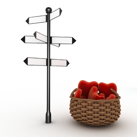 forked: Signpost and  basket full of hearts. Travel Concept for Lovers. 3d illustration on a white background Stock Photo