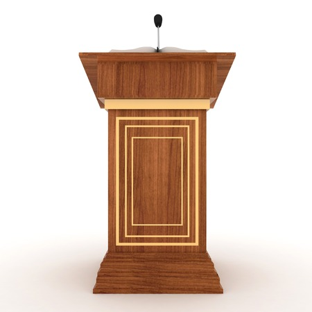 rostrum: Wooden Rostrum Stand with Microphone  on a white background