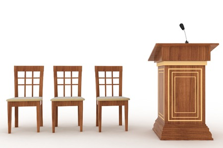 Wooden Rostrum Stand with Microphone and three chairs on a white background Stock Photo