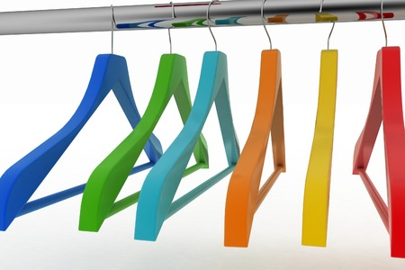 clothes rail: Row of color coat hangers on metal clothes rail. 3d illustration on white background