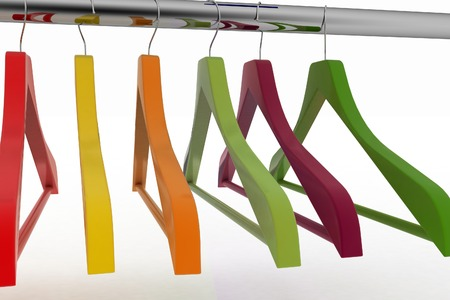 closet rod: Row of color coat hangers on metal clothes rail. 3d illustration on white background