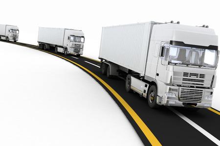 고속도로에 흰색 트럭. 3 차원 렌더링 그림. 화물 자동차 교통 물류, 배달 및 운송의 개념입니다.