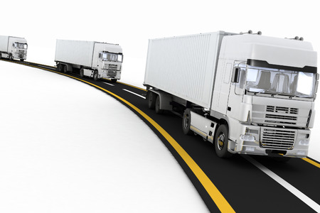 motor transport: White Trucks on freeway. 3d render illustration. Concept of logistics, delivery and transporting by freight motor transport.