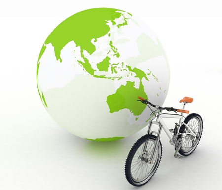conception: Bicycle and globe. Conception of tourism on an ecological transport