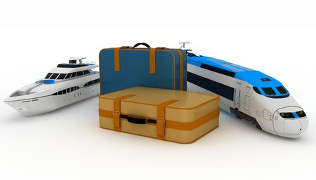 conception: Suitcases with yacht and train. Conception of journey on a railway and sea