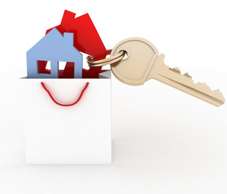 3d model house symbol set in a paper shopping bag and key photo