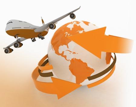 jet airplane: Passenger jet airplane travels around the world Stock Photo