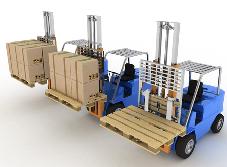 heave: Three loaders with cargo and without cargo. 3d image on a white background Stock Photo