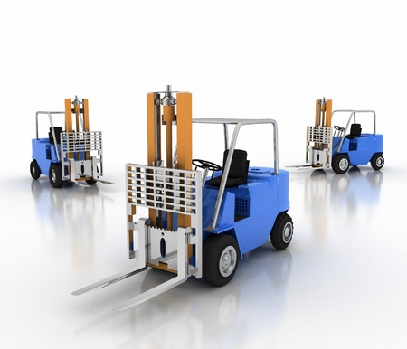 loaders: Three loaders without cargo. 3d image on a white background