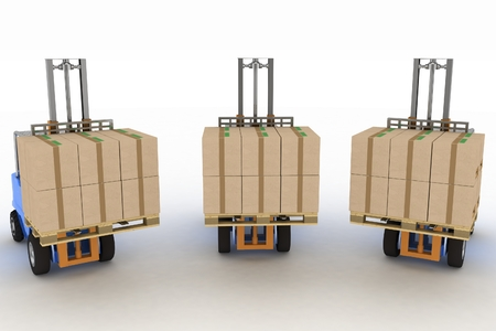 loaders: Three loaders with cargo. 3d image on a white background Stock Photo