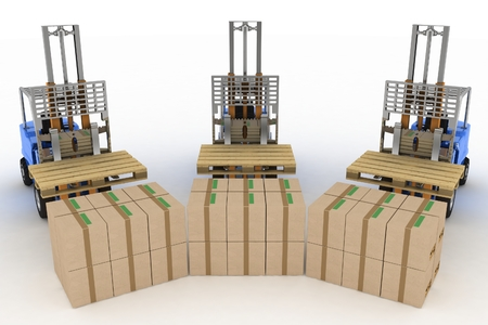 heave: Three loaders without cargo. 3d image on a white background