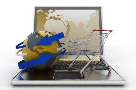 commodities: Ordenador port�til con la flecha y Carro de compras con un globo. El concepto de la compra de regalos y los productos b�sicos en Internet. 3d ilustraci�n sobre fondo blanco